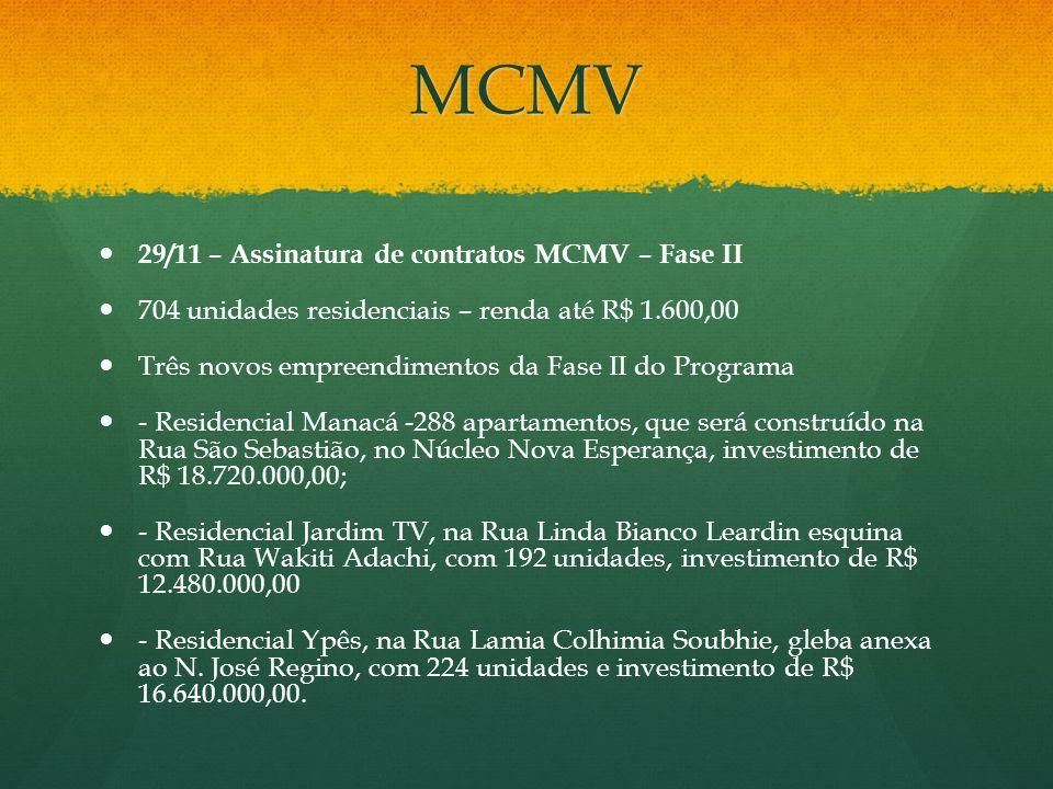 MCMV 29/11 – Assinatura de contratos MCMV – Fase II 704 unidades residenciais – renda até R$ 1.600,00 Três novos empreendimentos da Fase II do Program