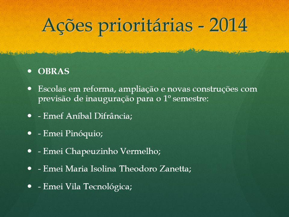 Ações prioritárias - 2014 OBRAS Escolas em reforma, ampliação e novas construções com previsão de inauguração para o 1º semestre: - Emef Aníbal Difrân