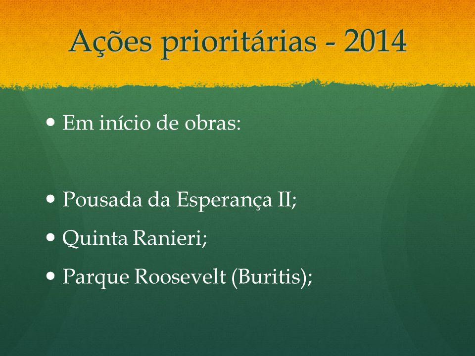 Ações prioritárias - 2014 Em início de obras: Pousada da Esperança II; Quinta Ranieri; Parque Roosevelt (Buritis);