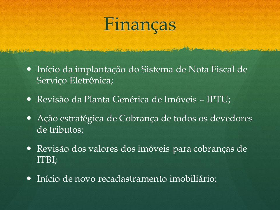 Finanças Início da implantação do Sistema de Nota Fiscal de Serviço Eletrônica; Revisão da Planta Genérica de Imóveis – IPTU; Ação estratégica de Cobr