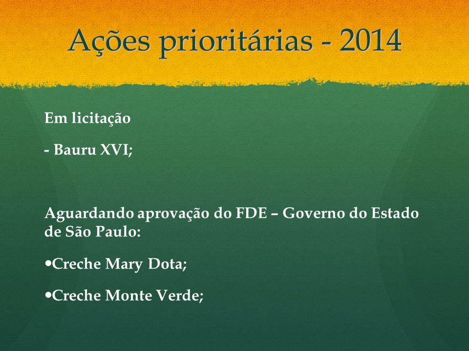 Ações prioritárias - 2014 Em licitação - Bauru XVI; Aguardando aprovação do FDE – Governo do Estado de São Paulo: Creche Mary Dota; Creche Monte Verde