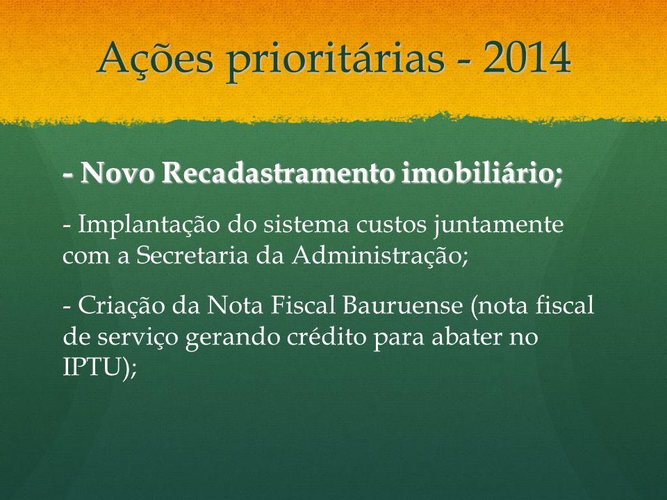 Ações prioritárias - 2014 - Novo Recadastramento imobiliário; - Implantação do sistema custos juntamente com a Secretaria da Administração; - Criação
