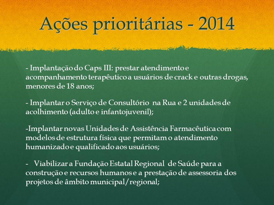 Ações prioritárias - 2014 - Implantação do Caps III: prestar atendimento e acompanhamento terapêutico a usuários de crack e outras drogas, menores de