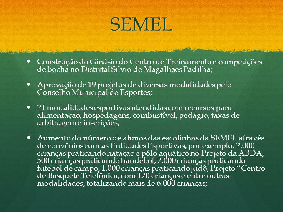 SEMEL Construção do Ginásio do Centro de Treinamento e competições de bocha no Distrital Silvio de Magalhães Padilha; Aprovação de 19 projetos de dive