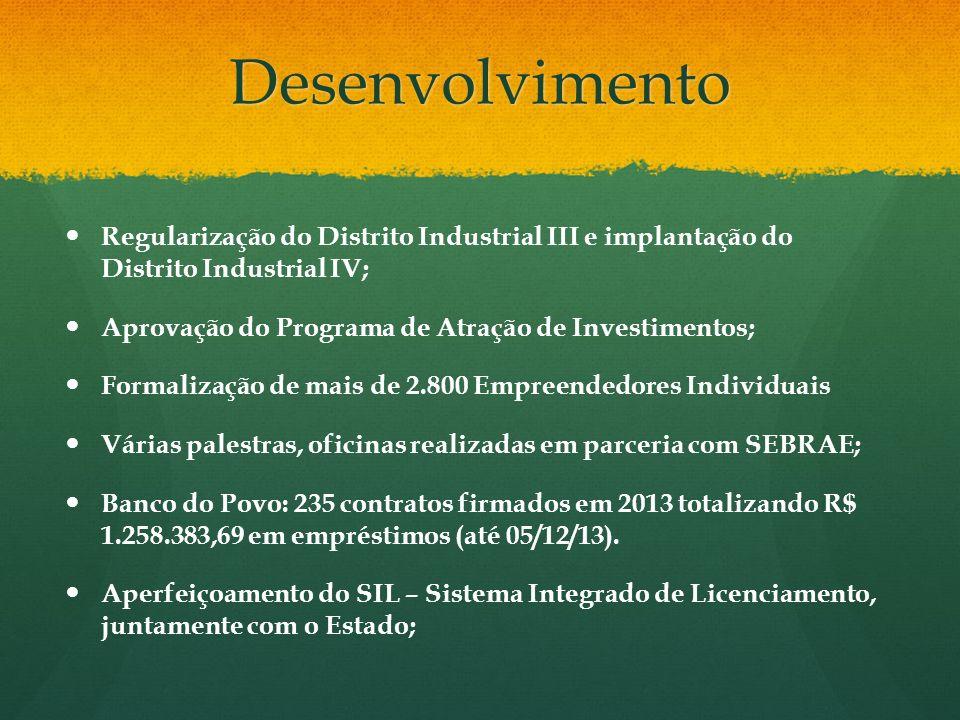 Desenvolvimento Regularização do Distrito Industrial III e implantação do Distrito Industrial IV; Aprovação do Programa de Atração de Investimentos; F