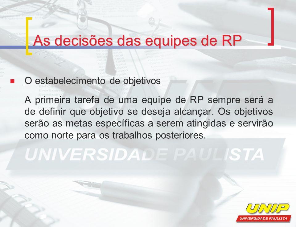 As decisões das equipes de RP O estabelecimento de objetivos A primeira tarefa de uma equipe de RP sempre será a de definir que objetivo se deseja alc