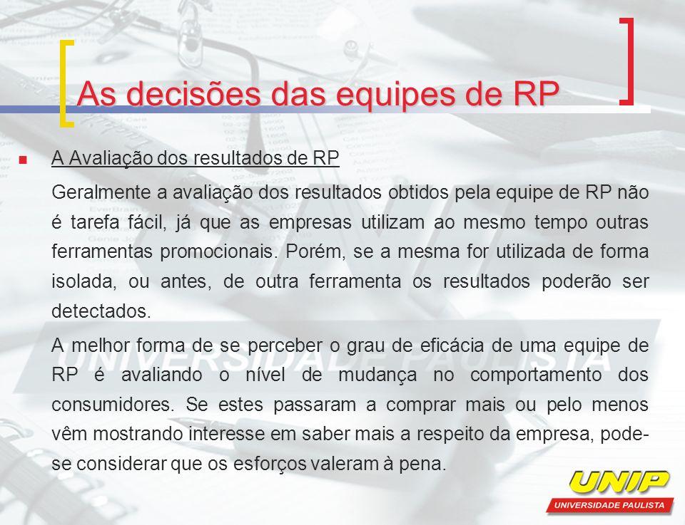 As decisões das equipes de RP A Avaliação dos resultados de RP Geralmente a avaliação dos resultados obtidos pela equipe de RP não é tarefa fácil, já