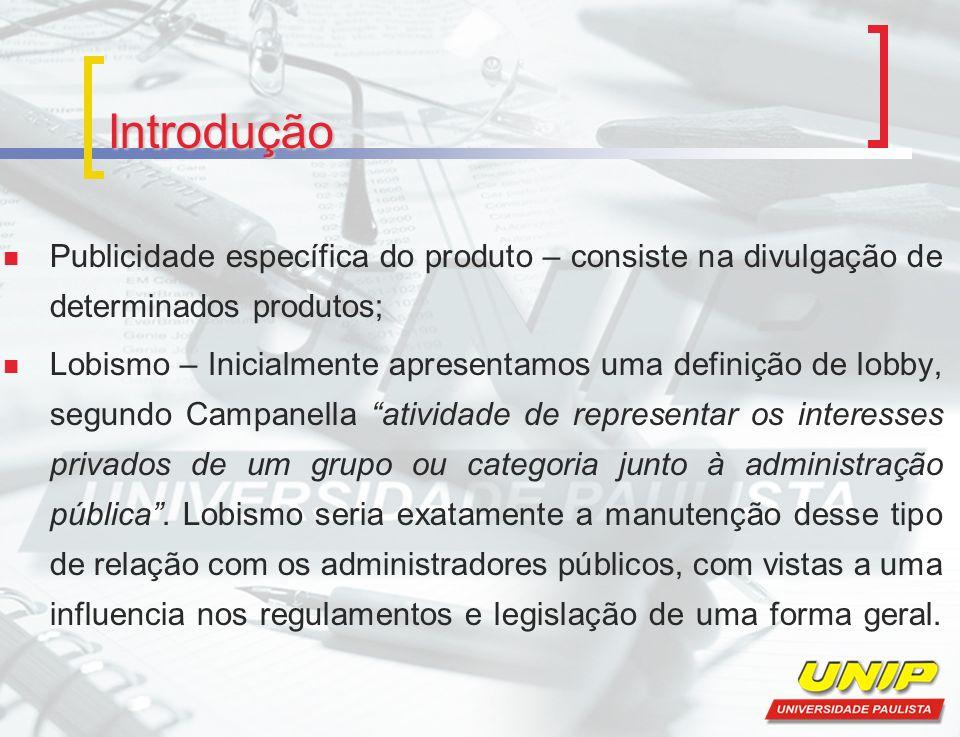 Introdução Publicidade específica do produto – consiste na divulgação de determinados produtos; Lobismo – Inicialmente apresentamos uma definição de l