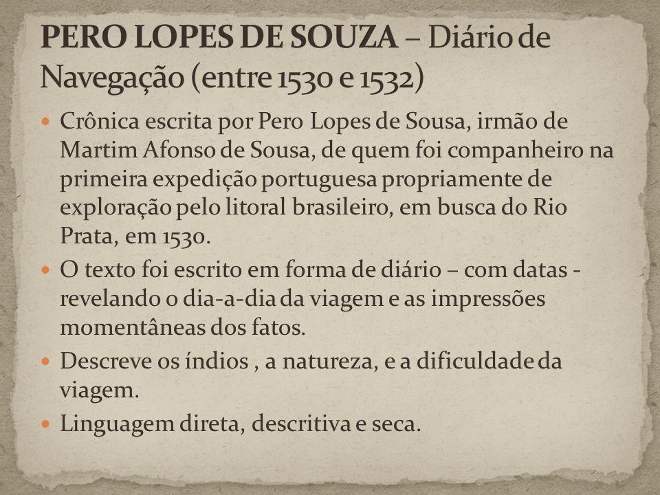 Crônica escrita por Pero Lopes de Sousa, irmão de Martim Afonso de Sousa, de quem foi companheiro na primeira expedição portuguesa propriamente de exploração pelo litoral brasileiro, em busca do Rio Prata, em 1530.