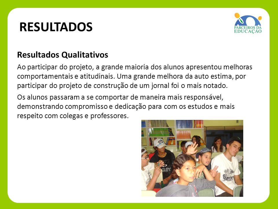 Resultados Qualitativos Ao participar do projeto, a grande maioria dos alunos apresentou melhoras comportamentais e atitudinais. Uma grande melhora da
