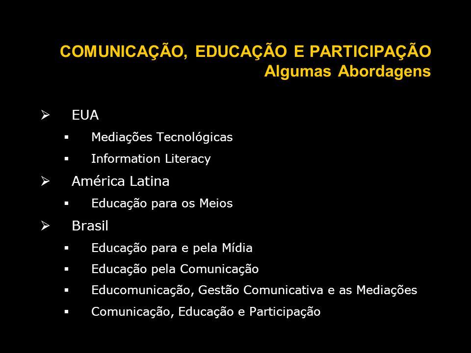 COMUNICAÇÃO, EDUCAÇÃO E PARTICIPAÇÃO Algumas Abordagens EUA Mediações Tecnológicas Information Literacy América Latina Educação para os Meios Brasil Educação para e pela Mídia Educação pela Comunicação Educomunicação, Gestão Comunicativa e as Mediações Comunicação, Educação e Participação