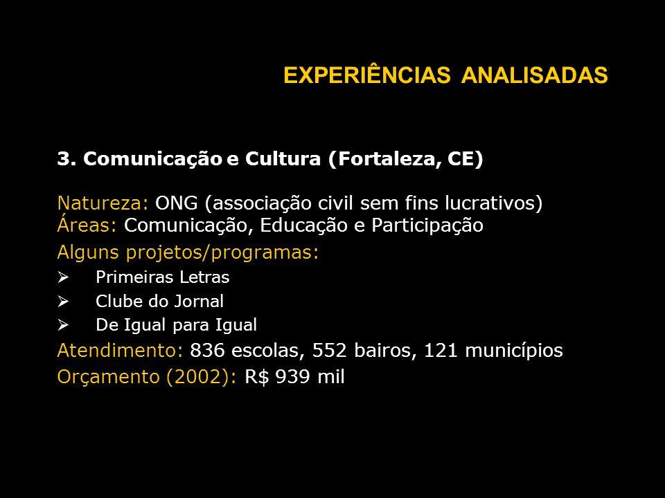 EXPERIÊNCIAS ANALISADAS 3.