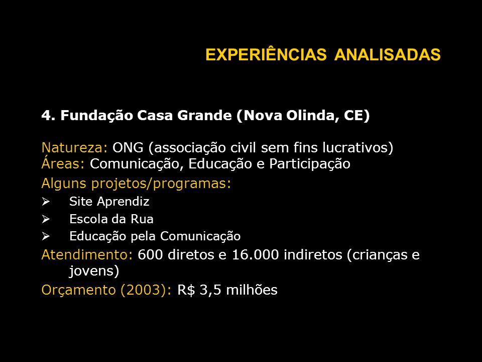 EXPERIÊNCIAS ANALISADAS 4.
