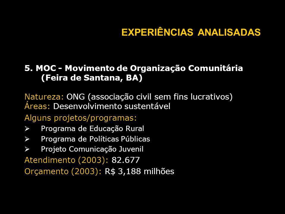 EXPERIÊNCIAS ANALISADAS 5.