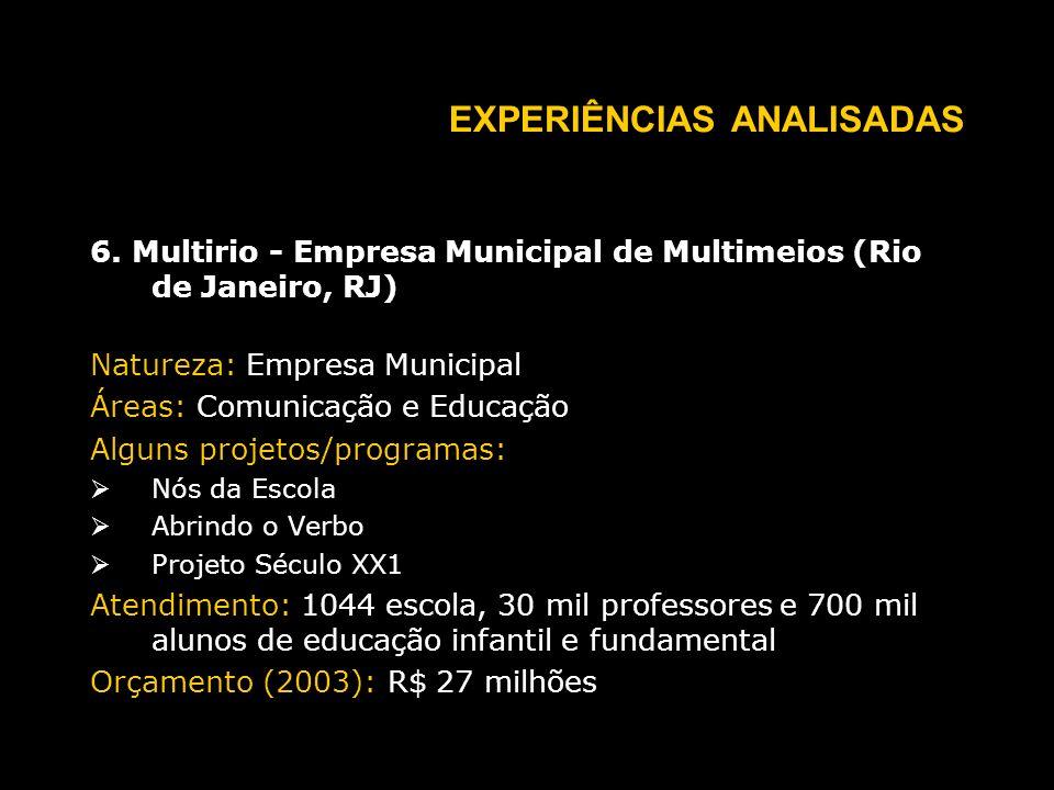 EXPERIÊNCIAS ANALISADAS 6.