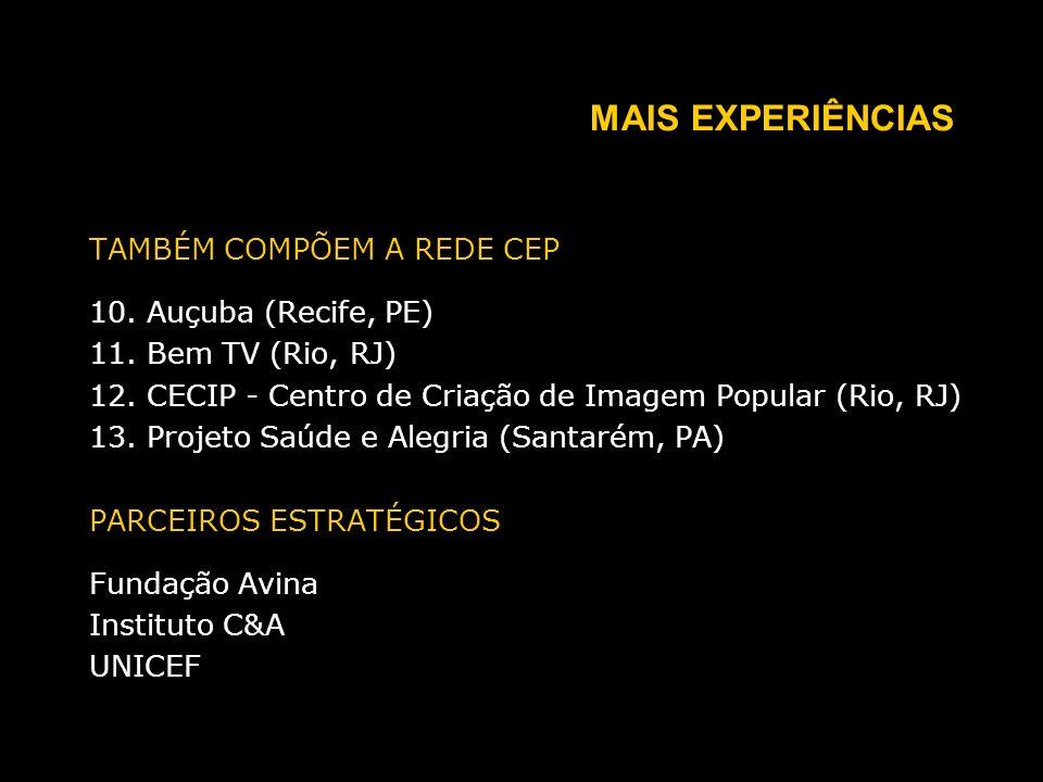 MAIS EXPERIÊNCIAS TAMBÉM COMPÕEM A REDE CEP 10. Auçuba (Recife, PE) 11.