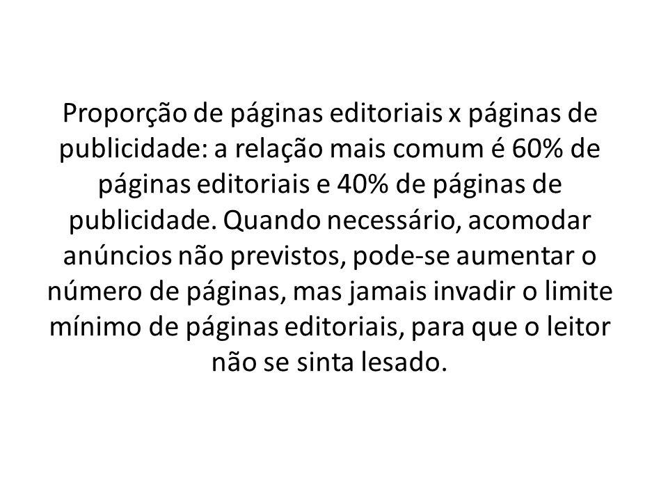 Proporção de páginas editoriais x páginas de publicidade: a relação mais comum é 60% de páginas editoriais e 40% de páginas de publicidade. Quando nec