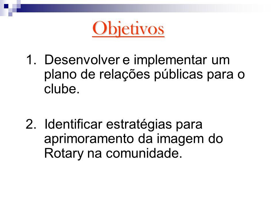 Objetivos 1. Desenvolver e implementar um plano de relações públicas para o clube. 2. Identificar estratégias para aprimoramento da imagem do Rotary n