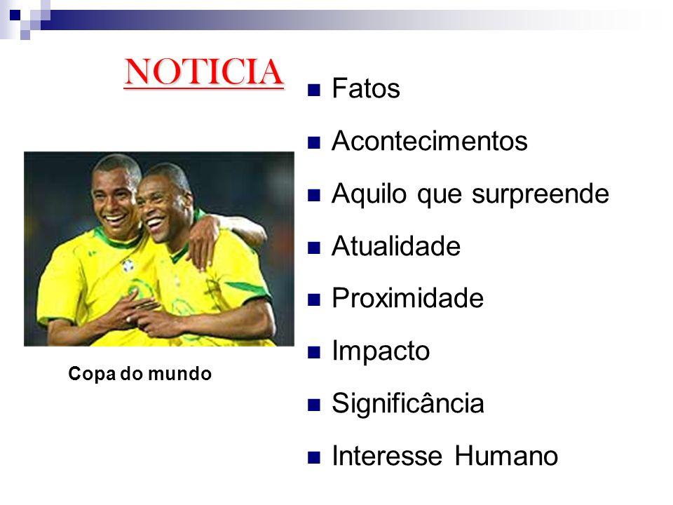 Fatos Acontecimentos Aquilo que surpreende Atualidade Proximidade Impacto Significância Interesse Humano NOTICIA Copa do mundo