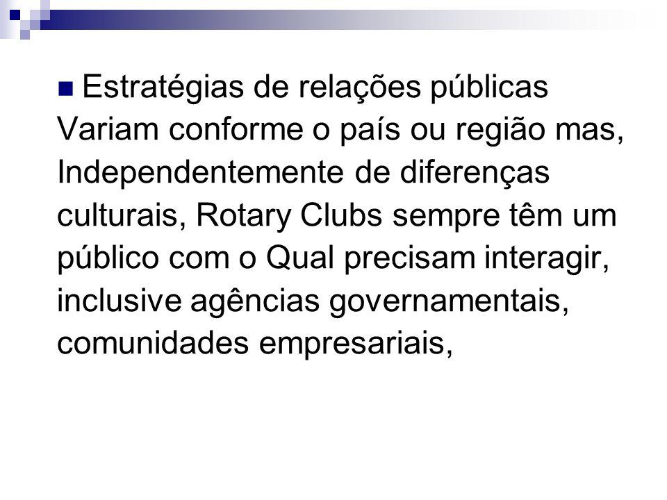 Estratégias de relações públicas Variam conforme o país ou região mas, Independentemente de diferenças culturais, Rotary Clubs sempre têm um público c