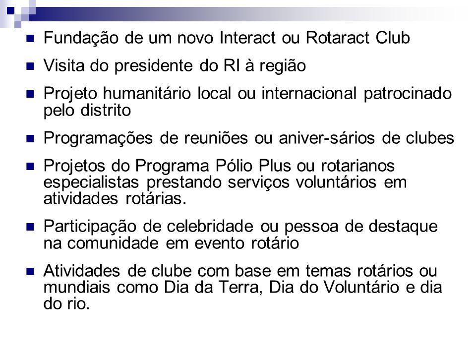 Fundação de um novo Interact ou Rotaract Club Visita do presidente do RI à região Projeto humanitário local ou internacional patrocinado pelo distrito
