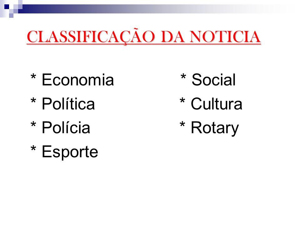 * Economia * Social * Política * Cultura * Polícia * Rotary * Esporte CLASSIFICAÇÃO DA NOTICIA