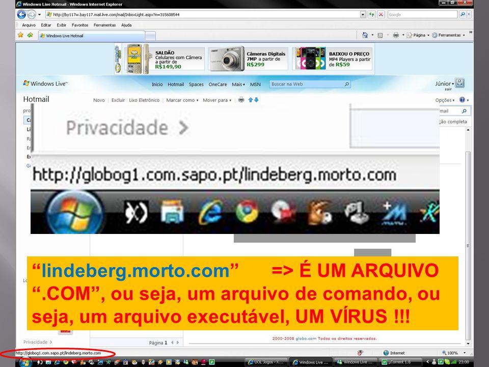 lindeberg.morto.com => É UM ARQUIVO.COM, ou seja, um arquivo de comando, ou seja, um arquivo executável, UM VÍRUS !!!
