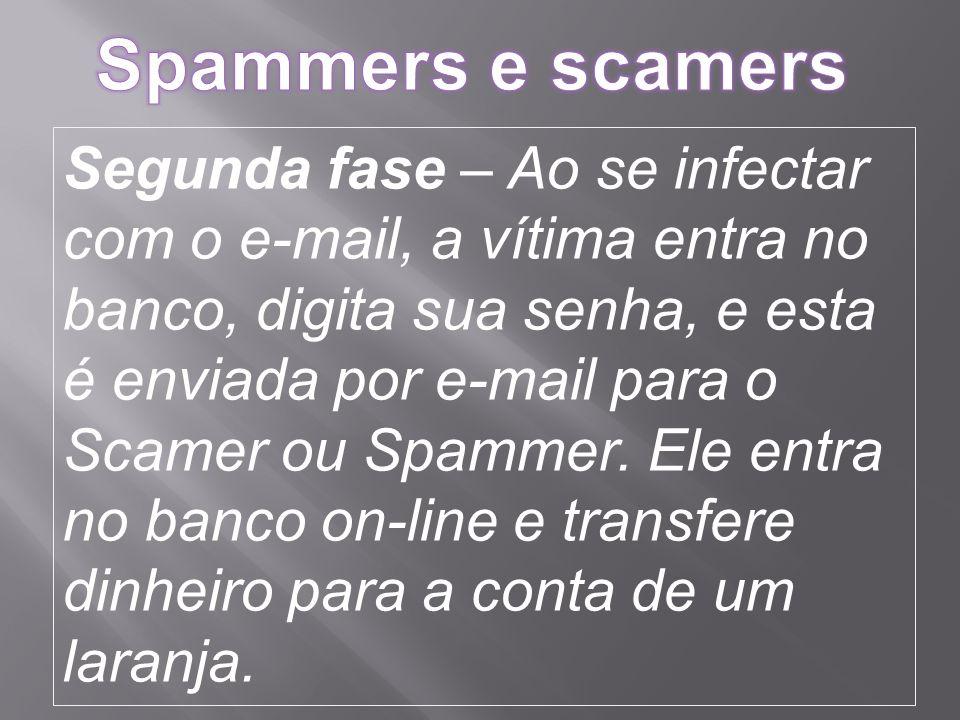 Segunda fase – Ao se infectar com o e-mail, a vítima entra no banco, digita sua senha, e esta é enviada por e-mail para o Scamer ou Spammer.