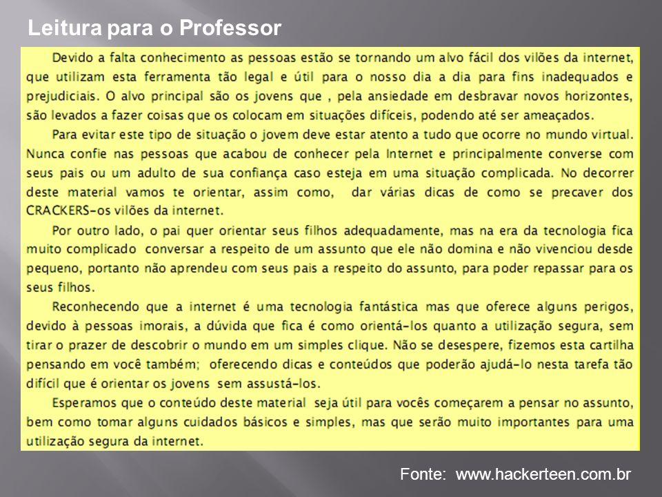 Leitura para o Professor Fonte: www.hackerteen.com.br