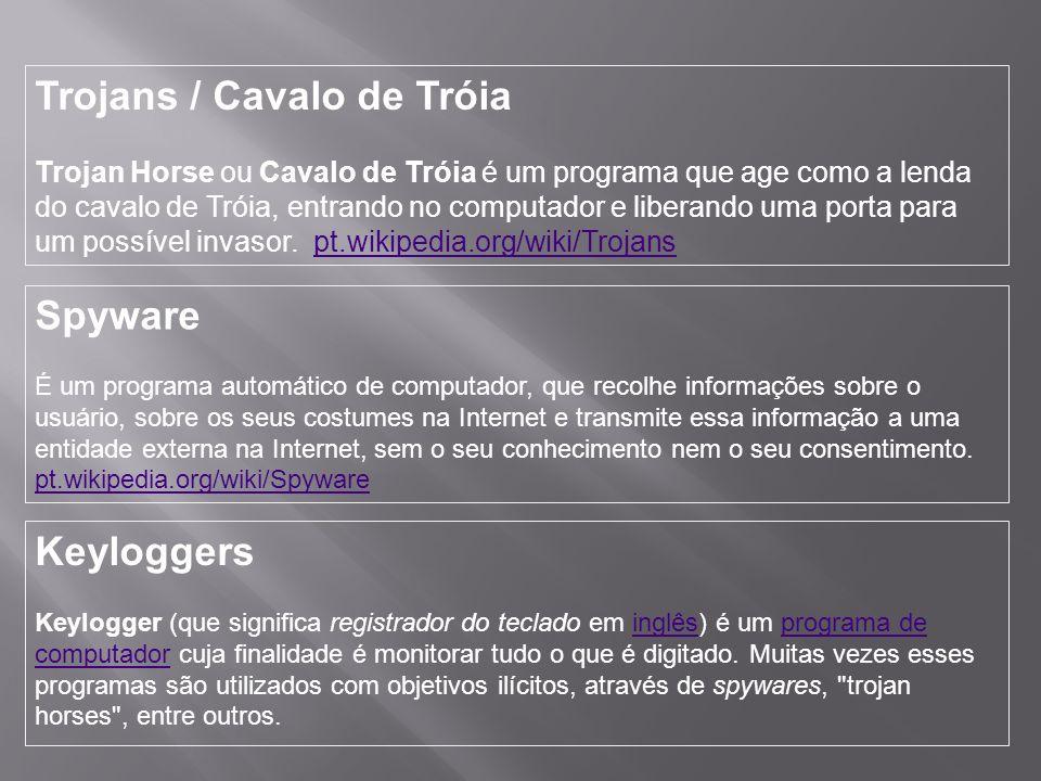 Trojans / Cavalo de Tróia Trojan Horse ou Cavalo de Tróia é um programa que age como a lenda do cavalo de Tróia, entrando no computador e liberando uma porta para um possível invasor.