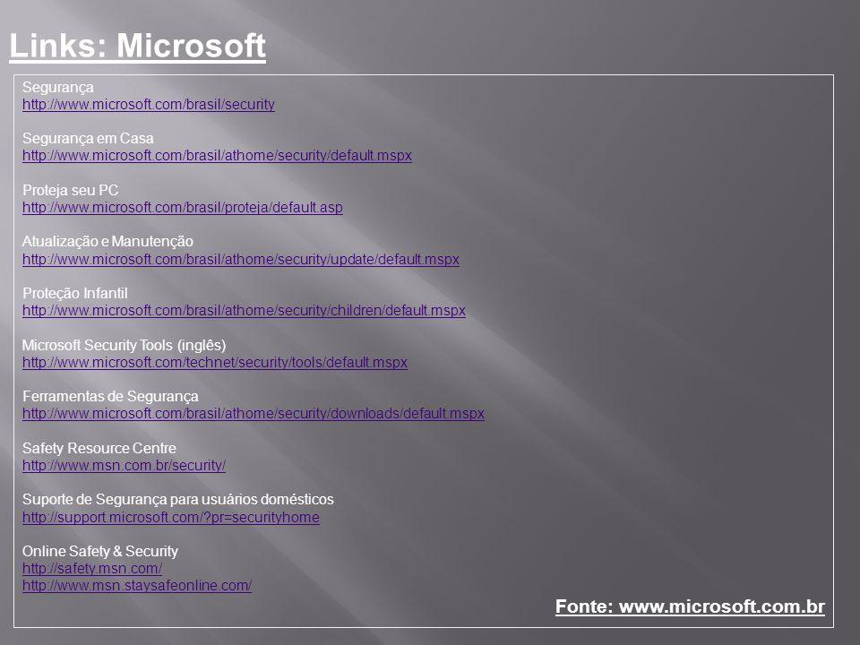 Segurança http://www.microsoft.com/brasil/security Segurança em Casa http://www.microsoft.com/brasil/athome/security/default.mspx Proteja seu PC http: