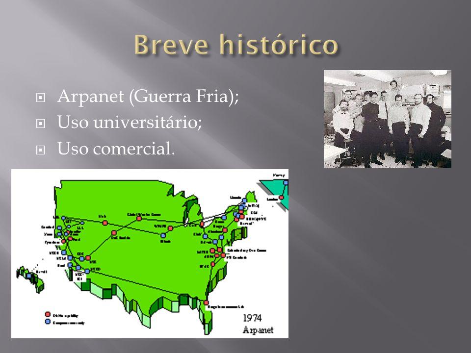 Arpanet (Guerra Fria); Uso universitário; Uso comercial.