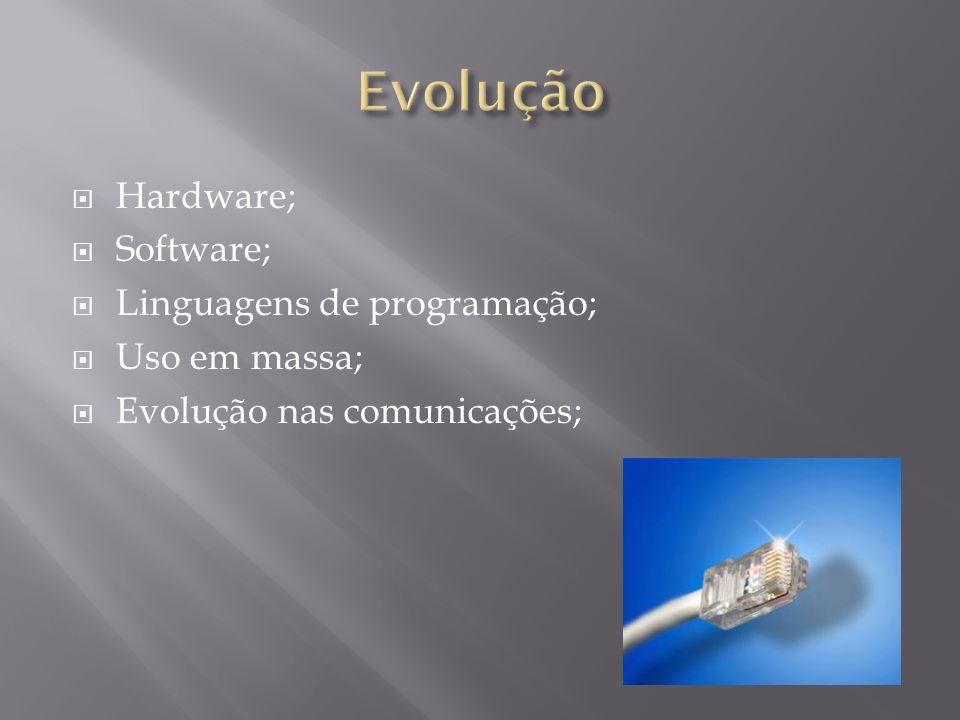 Hardware; Software; Linguagens de programação; Uso em massa; Evolução nas comunicações;