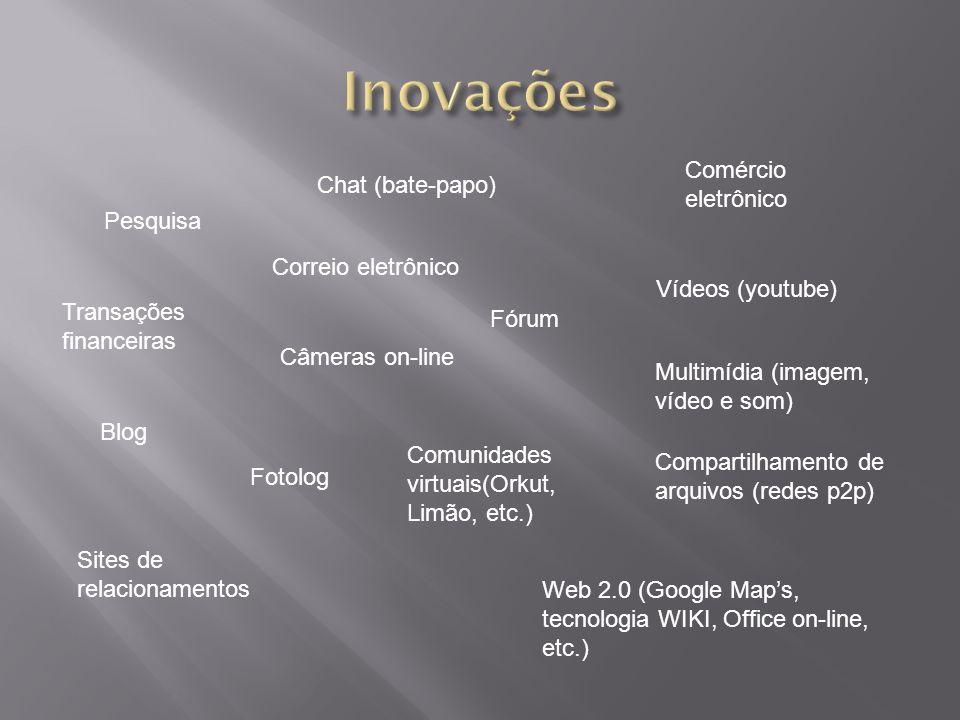 Pesquisa Transações financeiras Chat (bate-papo) Correio eletrônico Câmeras on-line Blog Sites de relacionamentos Fotolog Comunidades virtuais(Orkut, Limão, etc.) Web 2.0 (Google Maps, tecnologia WIKI, Office on-line, etc.) Fórum Comércio eletrônico Vídeos (youtube) Multimídia (imagem, vídeo e som) Compartilhamento de arquivos (redes p2p)