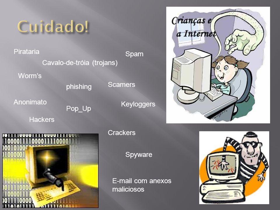 Pirataria Worms Cavalo-de-tróia (trojans) phishing Pop_Up Crackers Hackers Anonimato Spyware Spam E-mail com anexos maliciosos Scamers Keyloggers