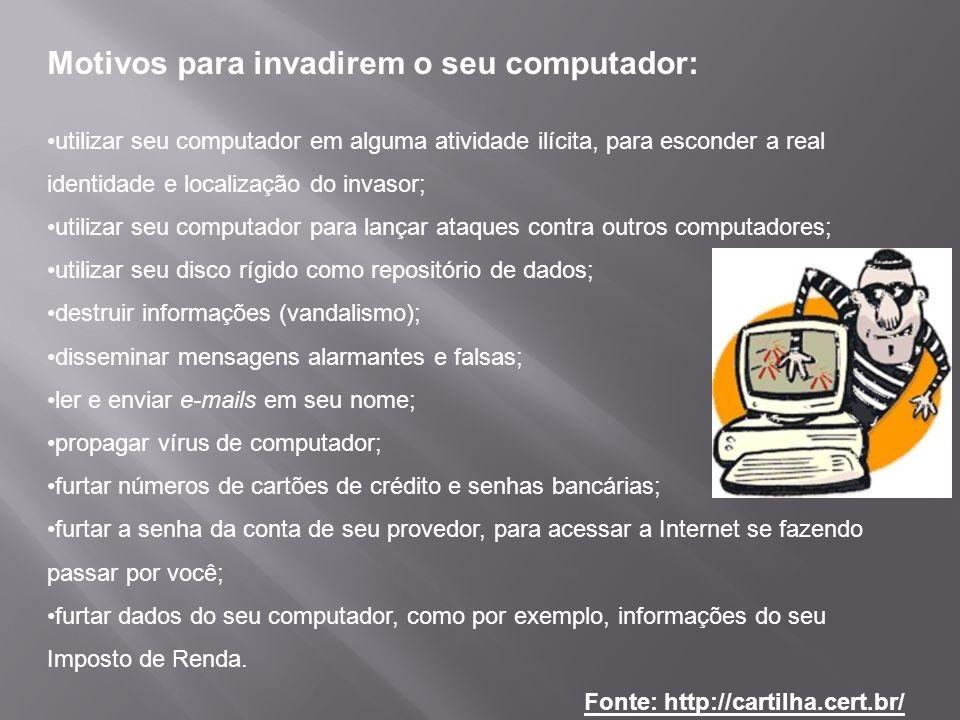 Motivos para invadirem o seu computador: utilizar seu computador em alguma atividade ilícita, para esconder a real identidade e localização do invasor