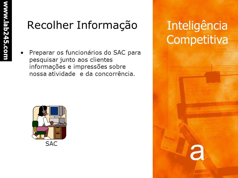 a www.lab245.com Inteligência Competitiva Recolher Informação Escolher vendedores representativos das regiões que tenham perfil adequado para o fornec