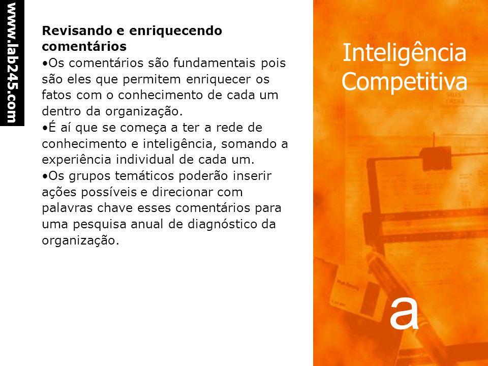a www.lab245.com Inteligência Competitiva Grupos de pesquisa e interpretação temática É interessante formar grupos de funcionários por tema, por exemp