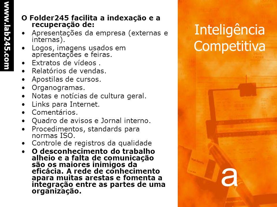a www.lab245.com Inteligência Competitiva Agir Ações imediatas Algumas informações ou regrupamento de informações demandam uma atitude imediata. Um re