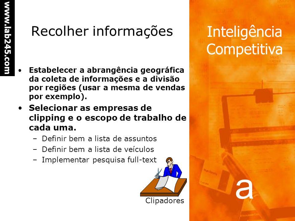 a www.lab245.com Inteligência Competitiva Recolher informações Estabelecer a abrangência geográfica da coleta de informações e a divisão por regiões (usar a mesma de vendas por exemplo).