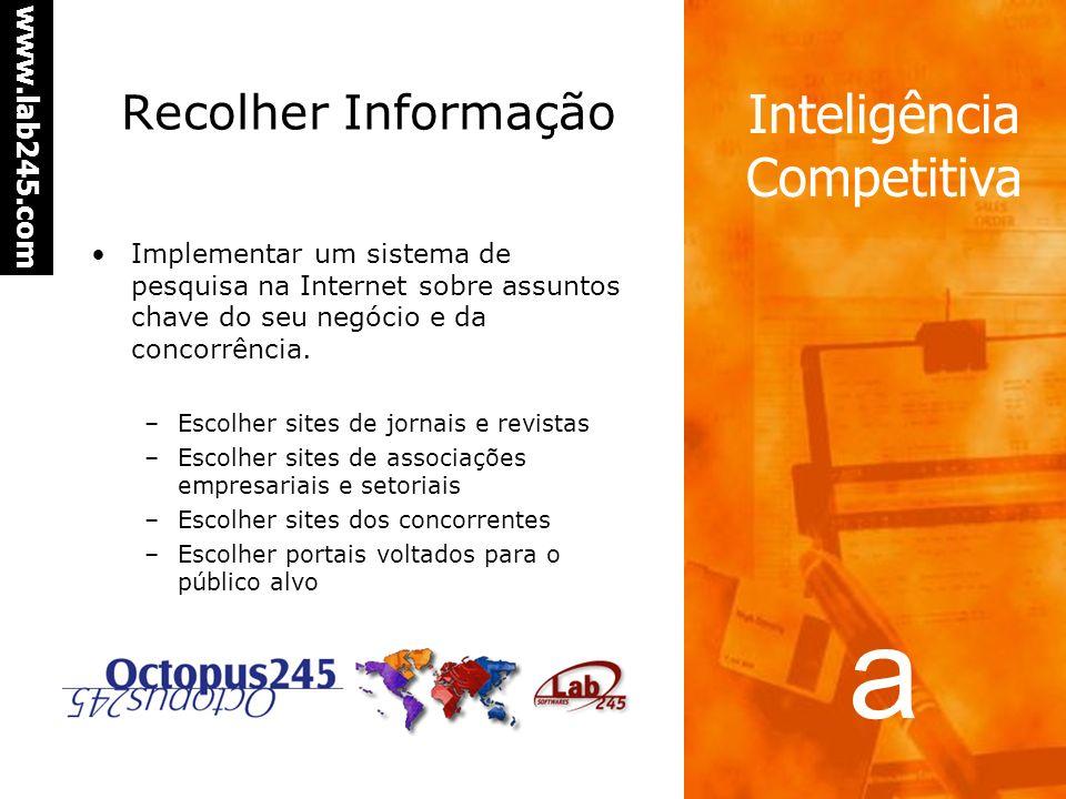 a www.lab245.com Inteligência Competitiva Recolher Informação Implementar um sistema de pesquisa na Internet sobre assuntos chave do seu negócio e da concorrência.