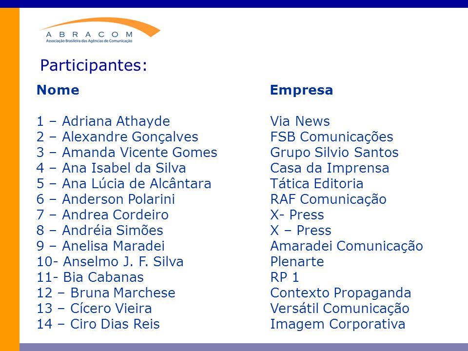 Participantes: Nome Empresa 15 – Cláudia d Amato LVBA Comunicação 16 – Cristiane AlvesSind.