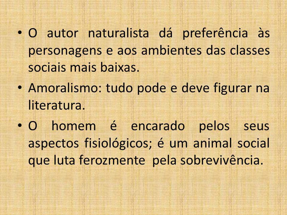 Características do Naturalismo Romance de intenção e fisionomia científica. O homem é um ser escravo da hereditariedade, do meio social (determinismo)