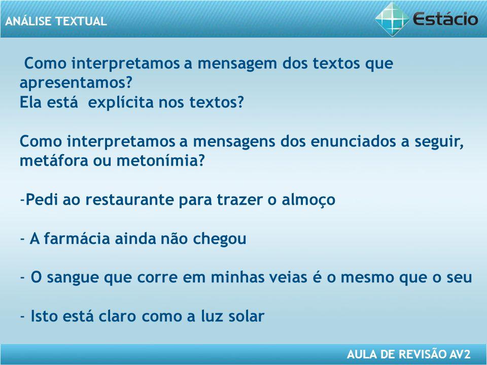 ANÁLISE TEXTUAL AULA DE REVISÃO AV2 Como interpretamos a mensagem dos textos que apresentamos.