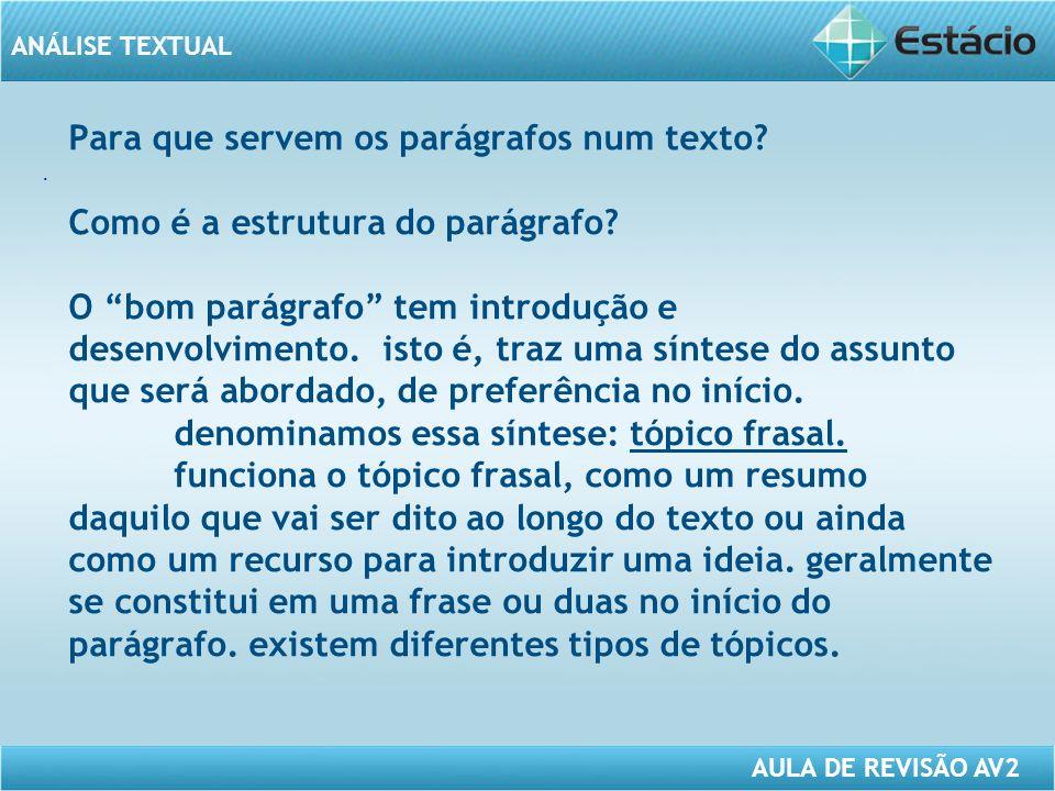 ANÁLISE TEXTUAL AULA DE REVISÃO AV2 Para que servem os parágrafos num texto.