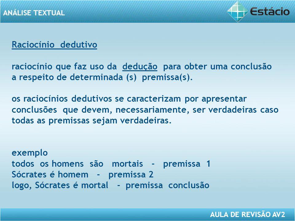 ANÁLISE TEXTUAL AULA DE REVISÃO AV2 Raciocínio dedutivo raciocínio que faz uso da dedução para obter uma conclusão a respeito de determinada (s) premissa(s).