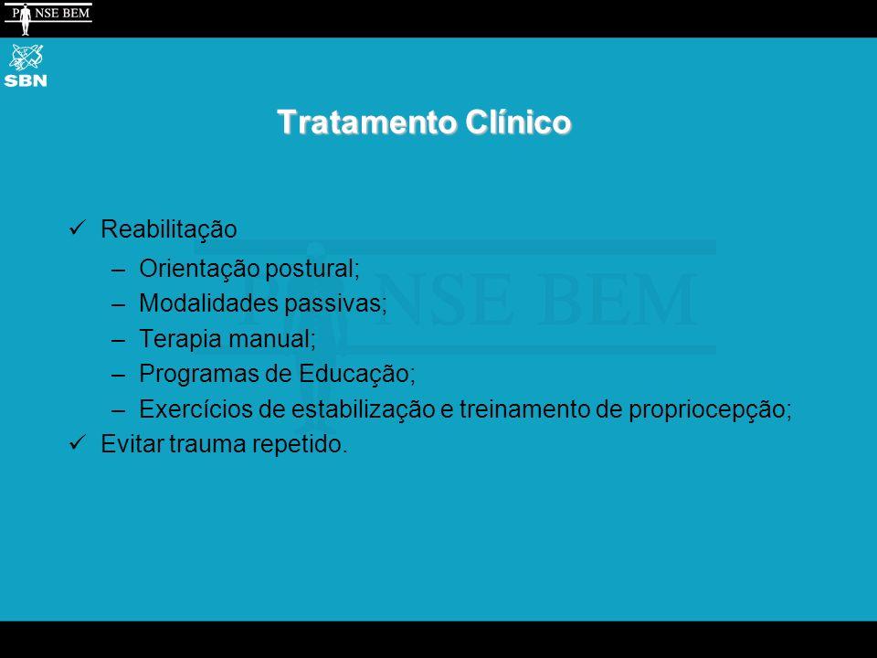 Tratamento Clínico Reabilitação –Orientação postural; –Modalidades passivas; –Terapia manual; –Programas de Educação; –Exercícios de estabilização e treinamento de propriocepção; Evitar trauma repetido.