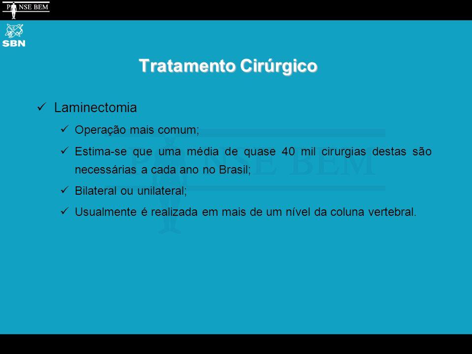 Tratamento Cirúrgico Laminectomia Operação mais comum; Estima-se que uma média de quase 40 mil cirurgias destas são necessárias a cada ano no Brasil; Bilateral ou unilateral; Usualmente é realizada em mais de um nível da coluna vertebral.