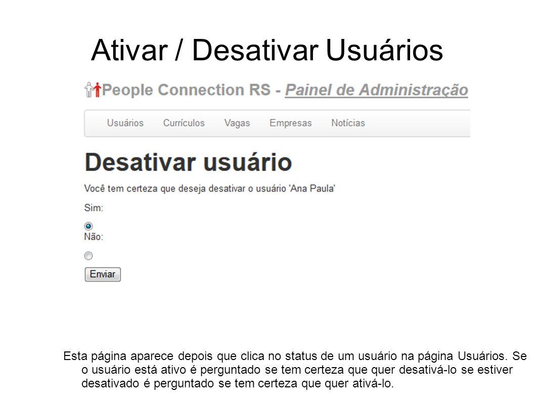Ativar / Desativar Usuários Esta página aparece depois que clica no status de um usuário na página Usuários. Se o usuário está ativo é perguntado se t