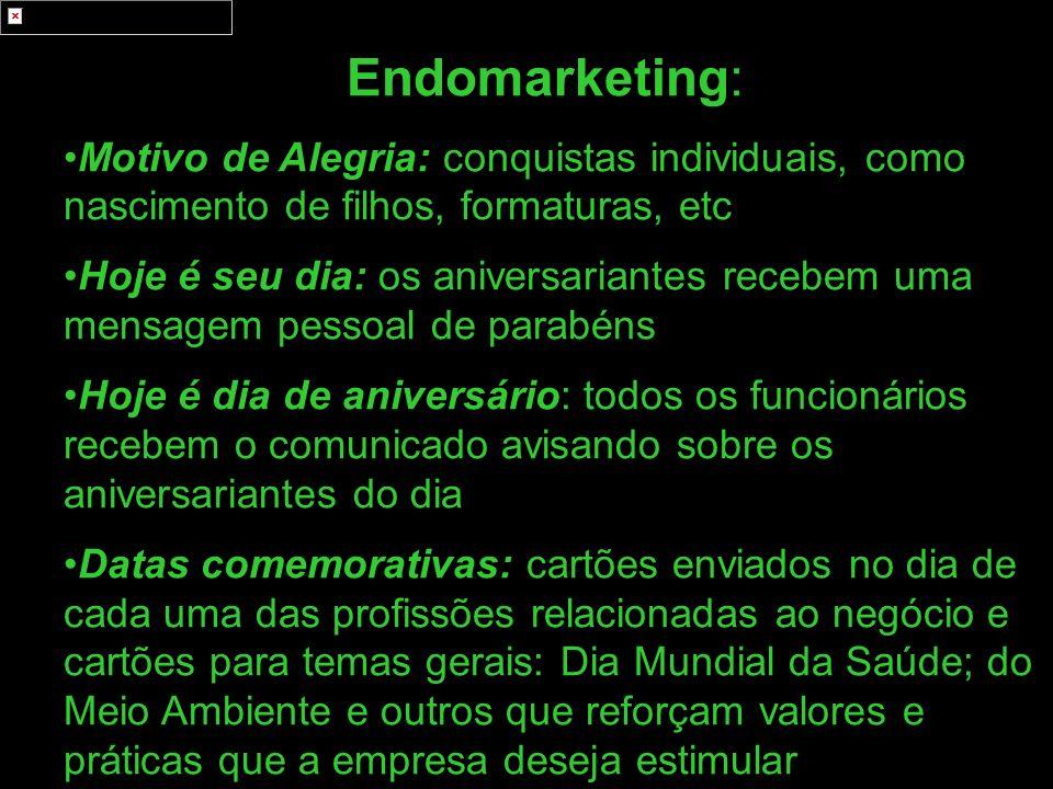 Endomarketing: Motivo de Alegria: conquistas individuais, como nascimento de filhos, formaturas, etc Hoje é seu dia: os aniversariantes recebem uma me